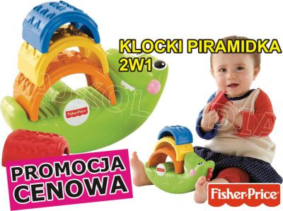 FISHER PRICE 2W1 KLOCKI PIRAMIDKA KROKODYL CDC48